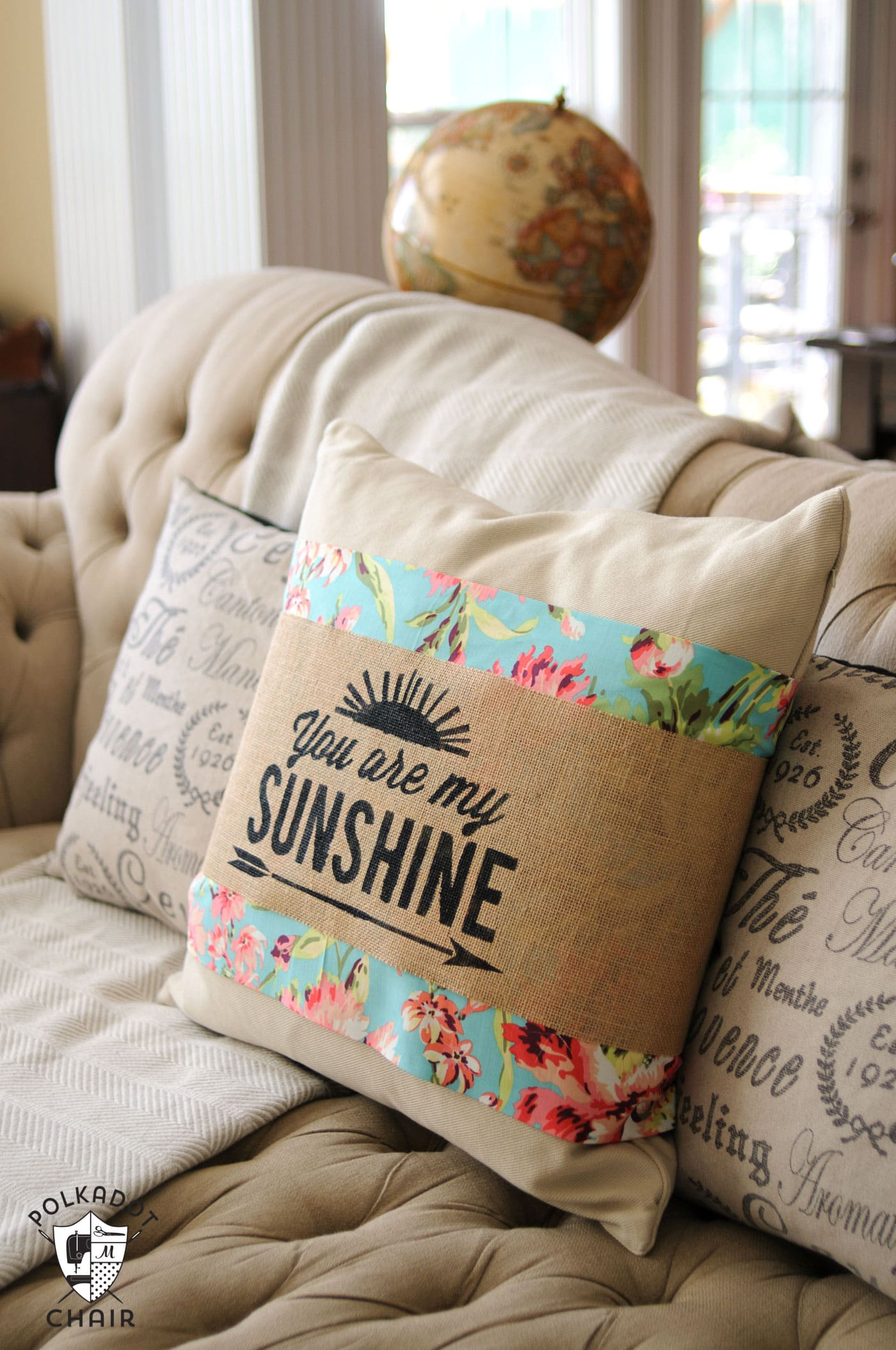 DIY Stenciled Burlap Pillow Sleeve Tutorial with free cut