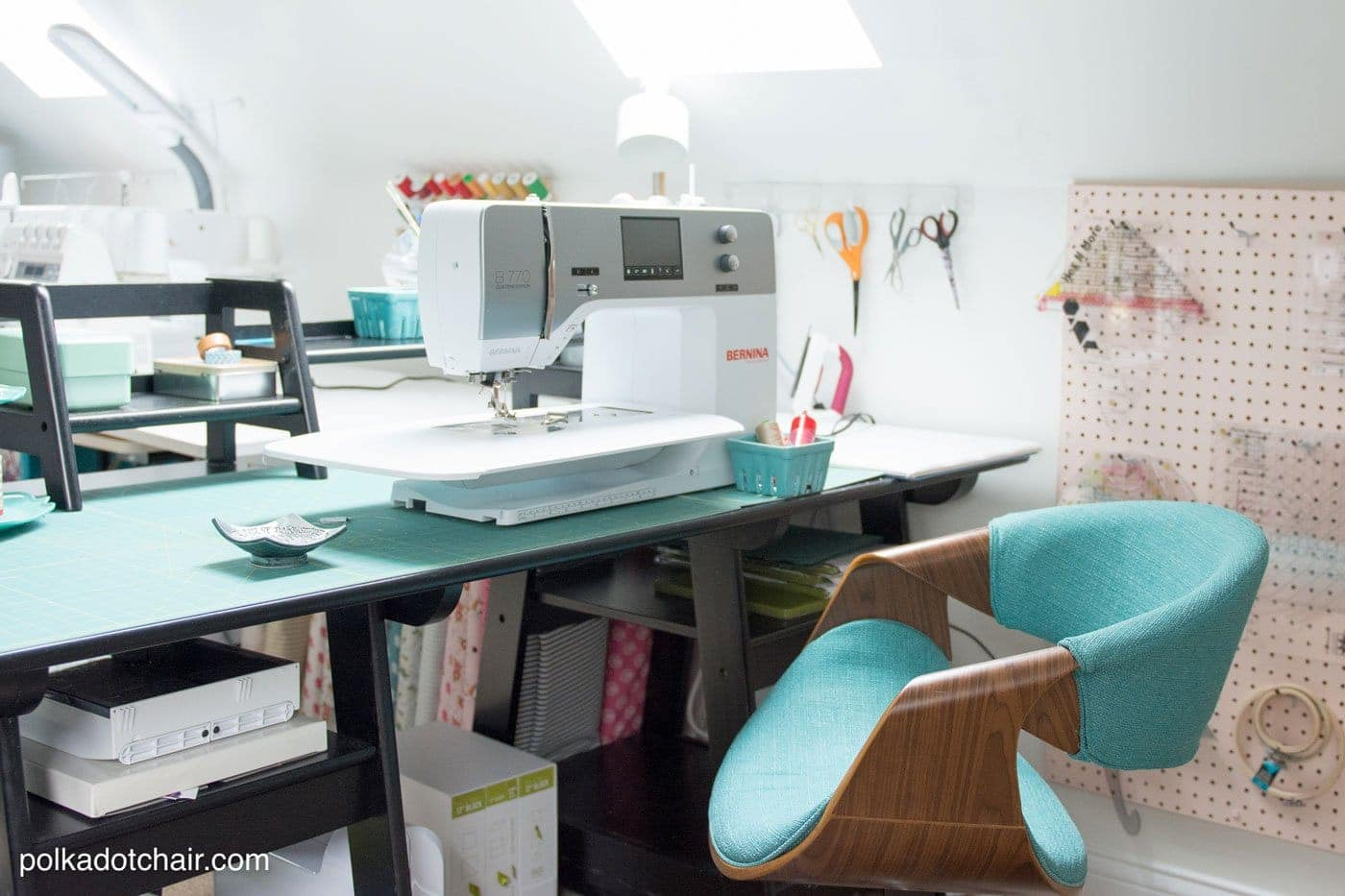 desk chair and modern recliner chairs canada room makeover reveal: sewing ideas - the polka dot