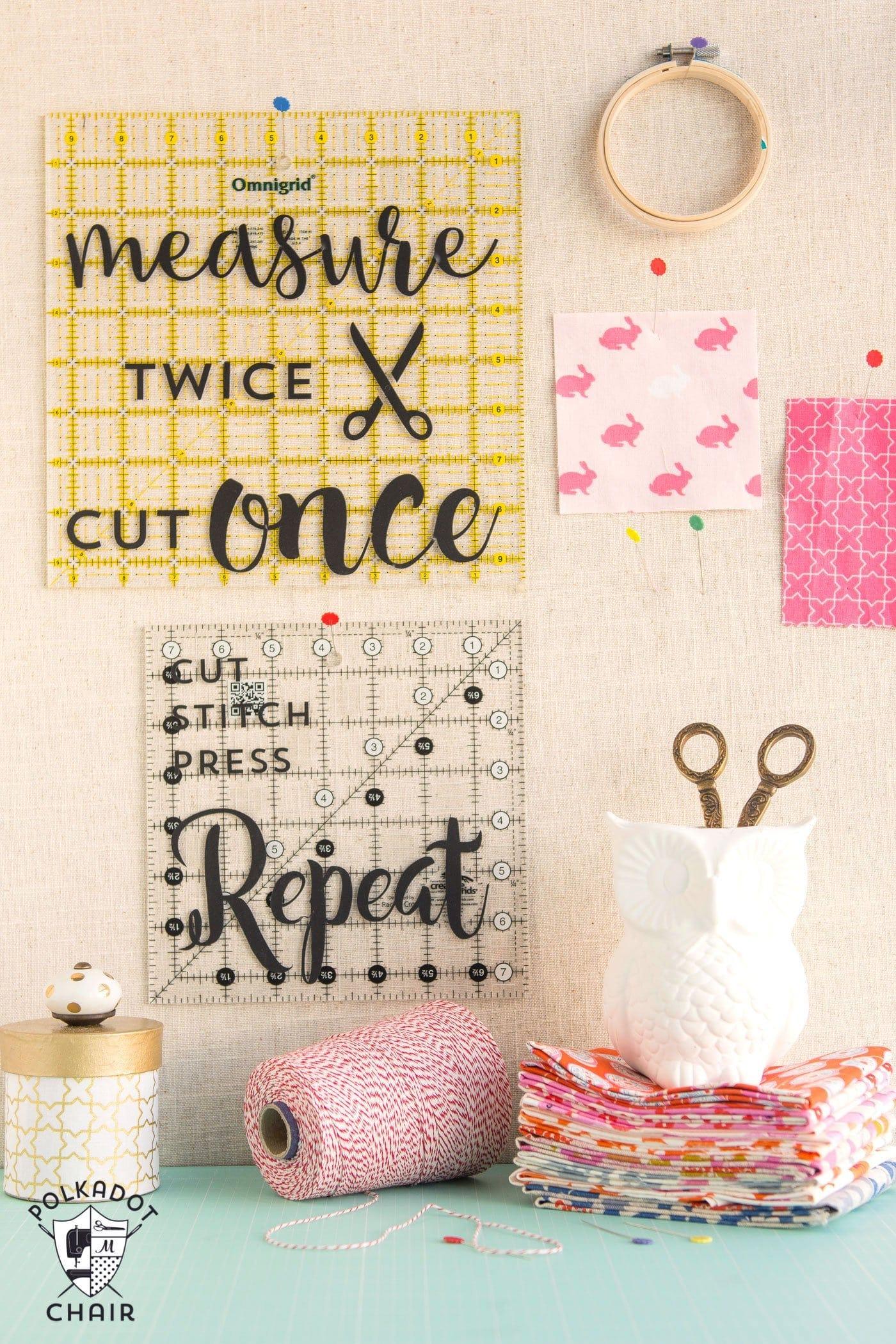 DIY Sewing Room Decor Ideas and free Cricut Cut Files