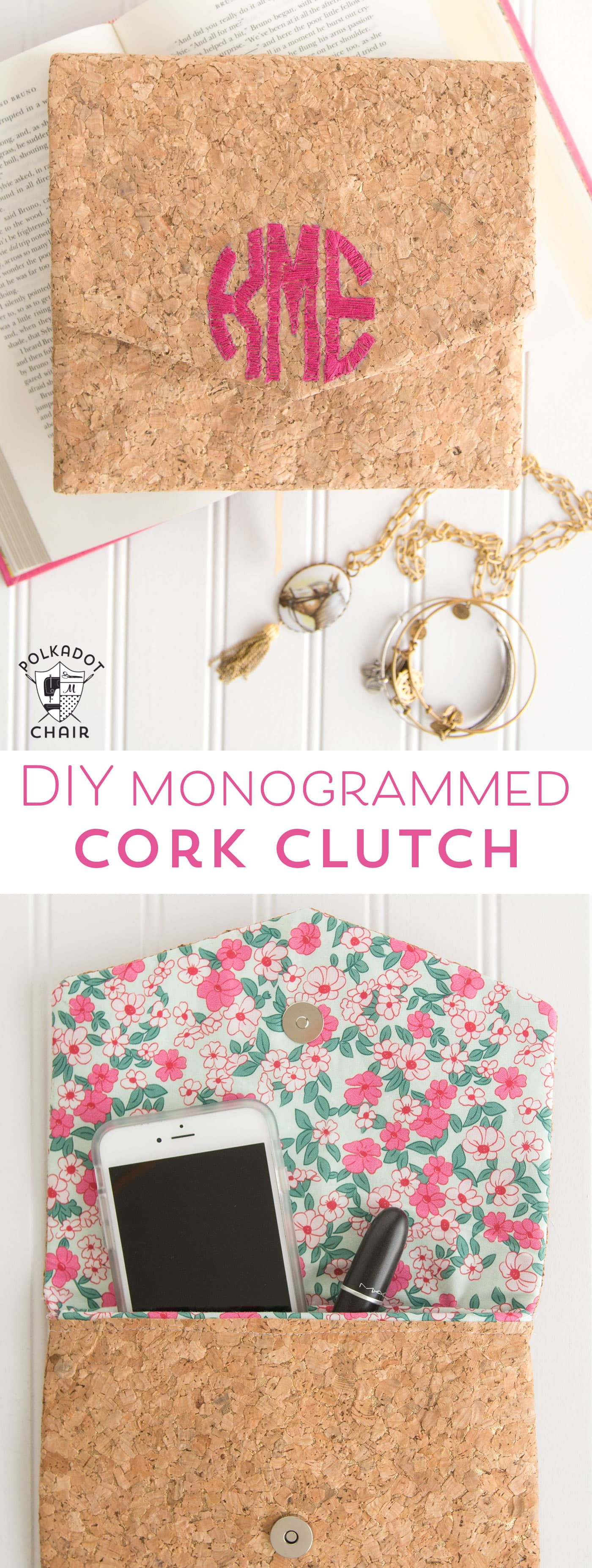 DIY Monogrammed Cork Clutch Tutorial  The Polka Dot Chair