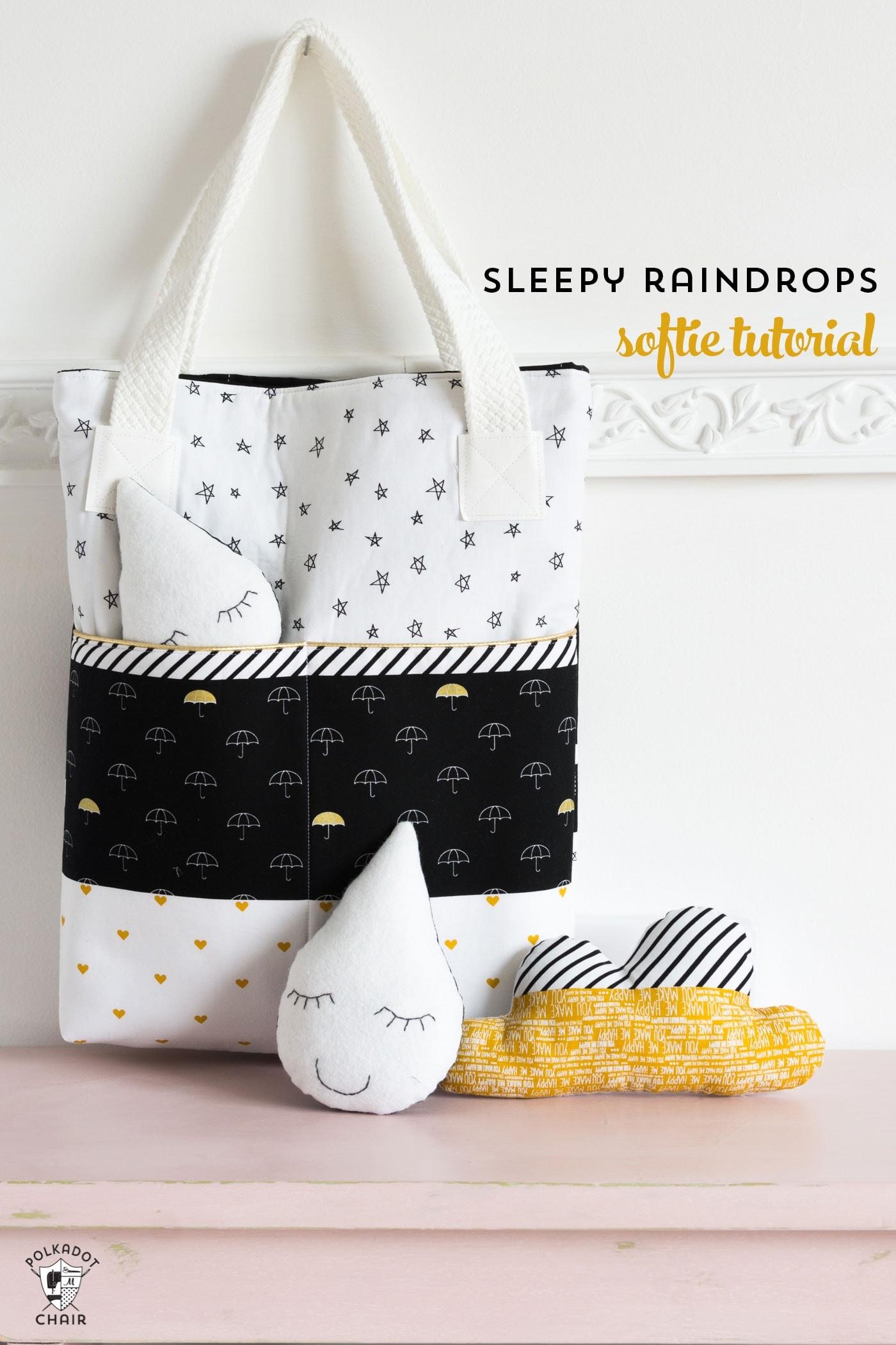 Sleepy Raindrops a free softie sewing pattern  The Polka