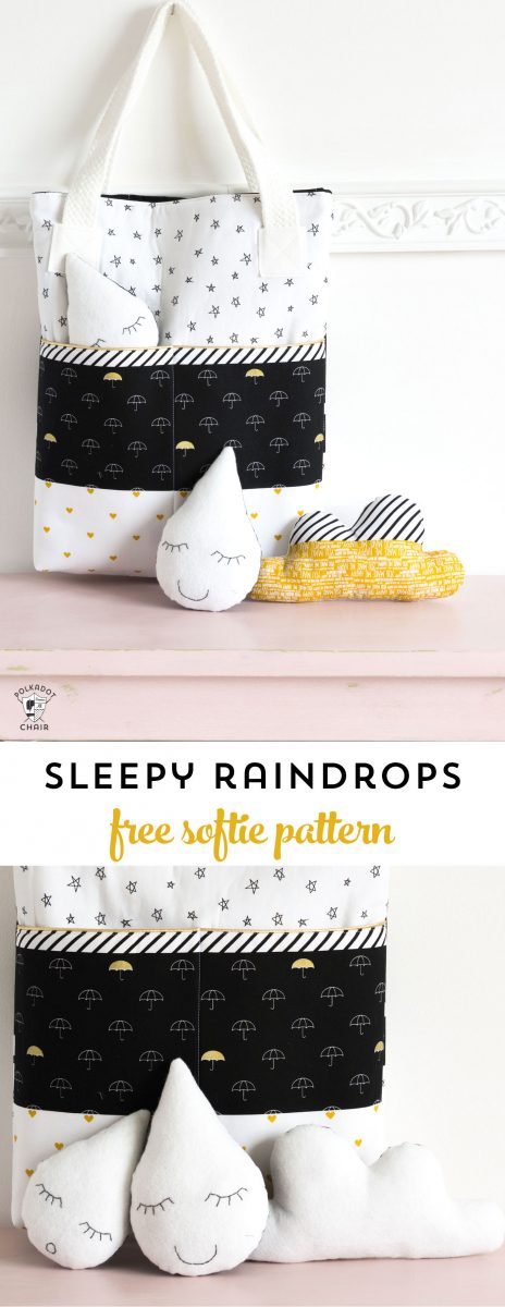 Sleepy Raindrops a free softie sewing pattern  The Polka