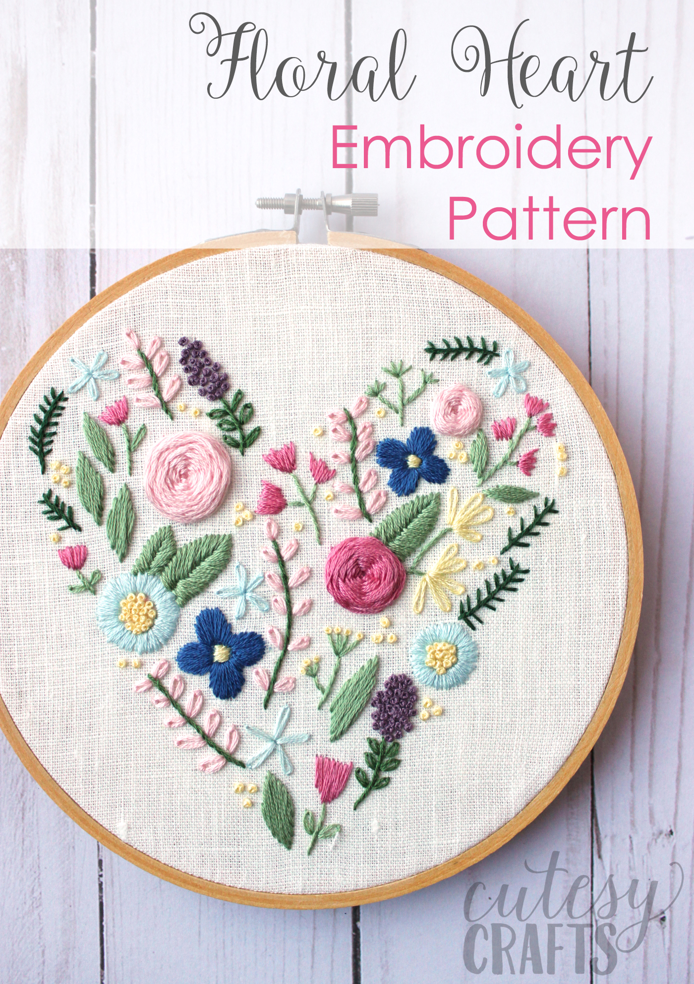 floral heart hand embroidery
