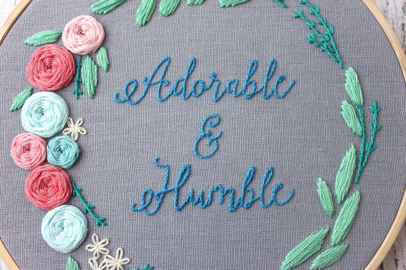 Adorable and Humble Free Floral Wreath Hand Embroidery