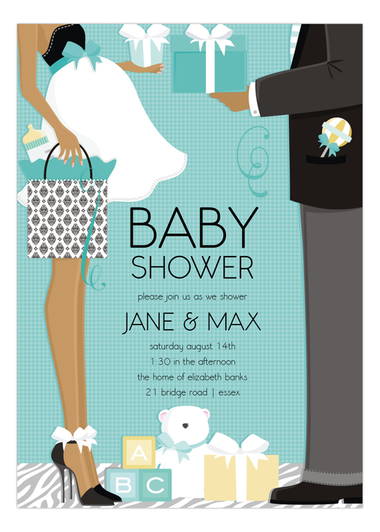 Blue African American Classic Baby Shower Invitation