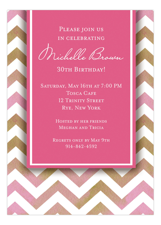 Chevron Pink 30th Birthday Invitations  customizable