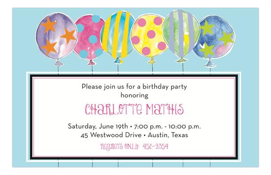Crazy Pastel Colored Balloons Birthday Invitations Polka
