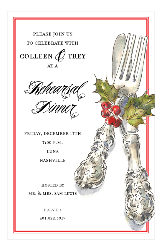 Festive Cutlery Invitation Invites For A Holiday