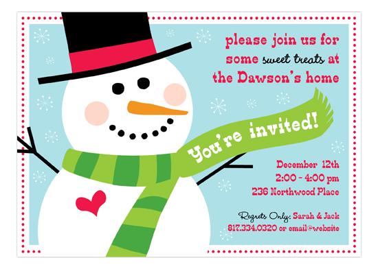 Peppermint Prints Festive Snowman Invitation Holiday