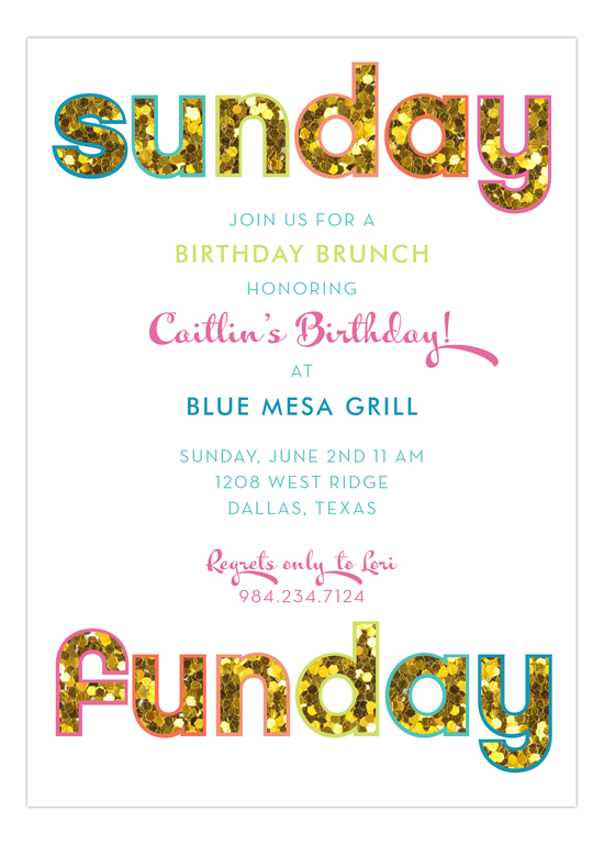 Glitter Sunday Funday Invitation Polka Dot Glitter Party