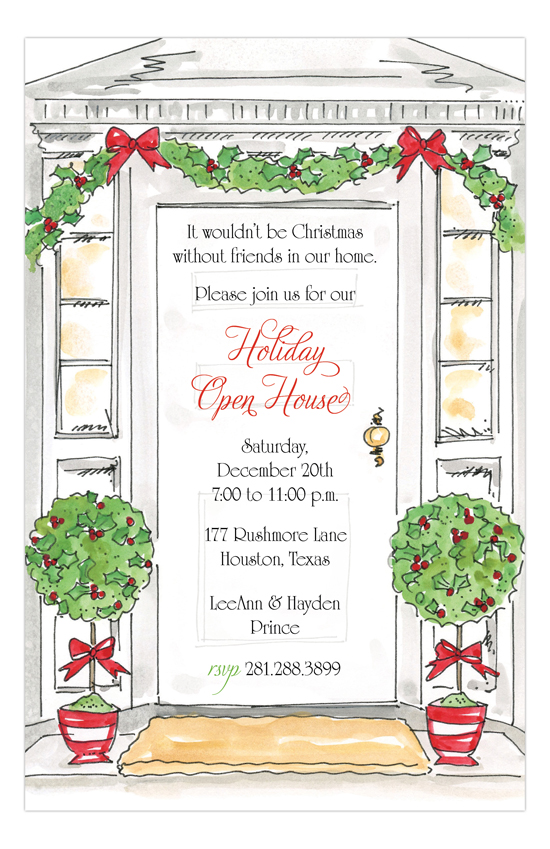 Holiday Open House Invitations Polka Dot Design