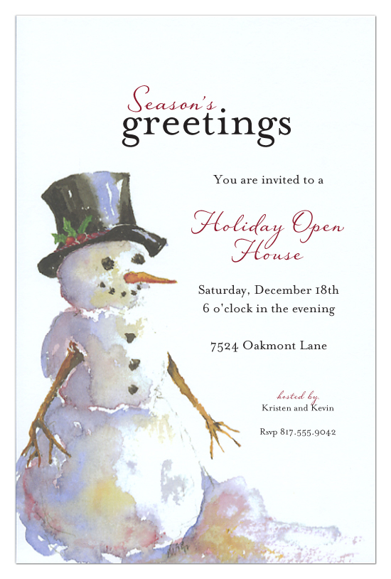 Seasons Greetings Snowman Holiday Open House Invitations