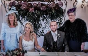 December wedding flowers hydrangea wallhanging