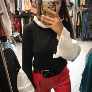 Pull con camicia nero