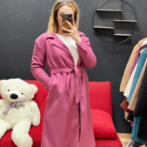 Cappotto lungo in panno rosa