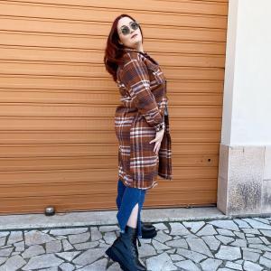 Cappotto a quadri marrone lara