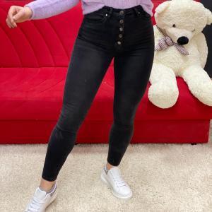 Jeans black con bottoni a vita altissima