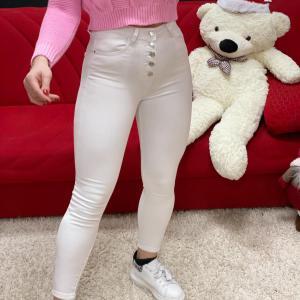 Jeans con bottoni white