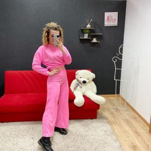 Coordinato tuta con bottoni rosa barbie