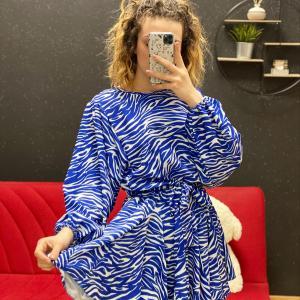 Abito fiore zebrato blu
