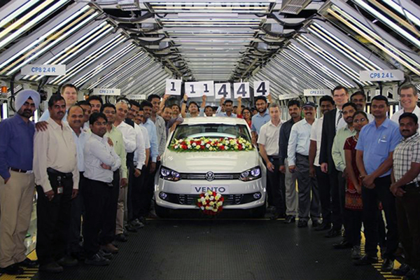Volkswagen India's Chakan factory celebrates 2014 production record