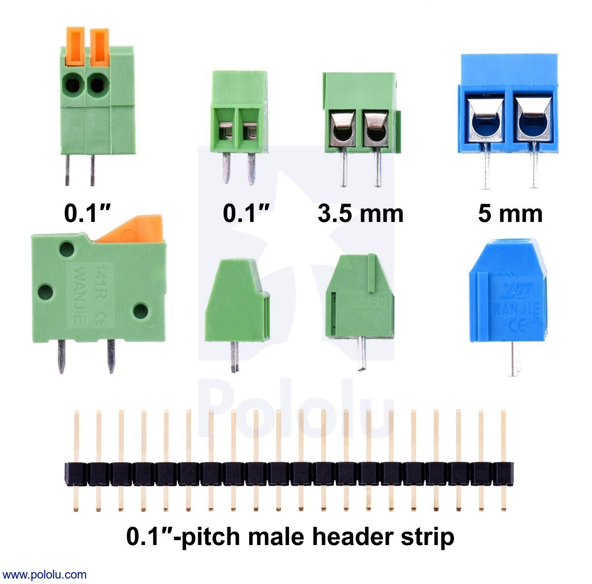 pololu screw terminal block 3 pin 3 5 mm pitch side entry 4 pack rh pololu com 3 5mm 3 wire jack wiring diagram 3 5mm 4 pin wiring [ 1200 x 1184 Pixel ]