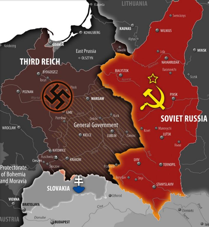 World War II Central Europe map (before Third Reich invasion on ...