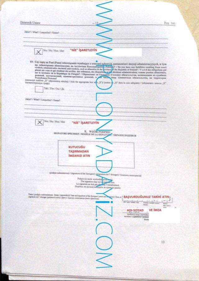 Polonya oturum izni için başvuru formu