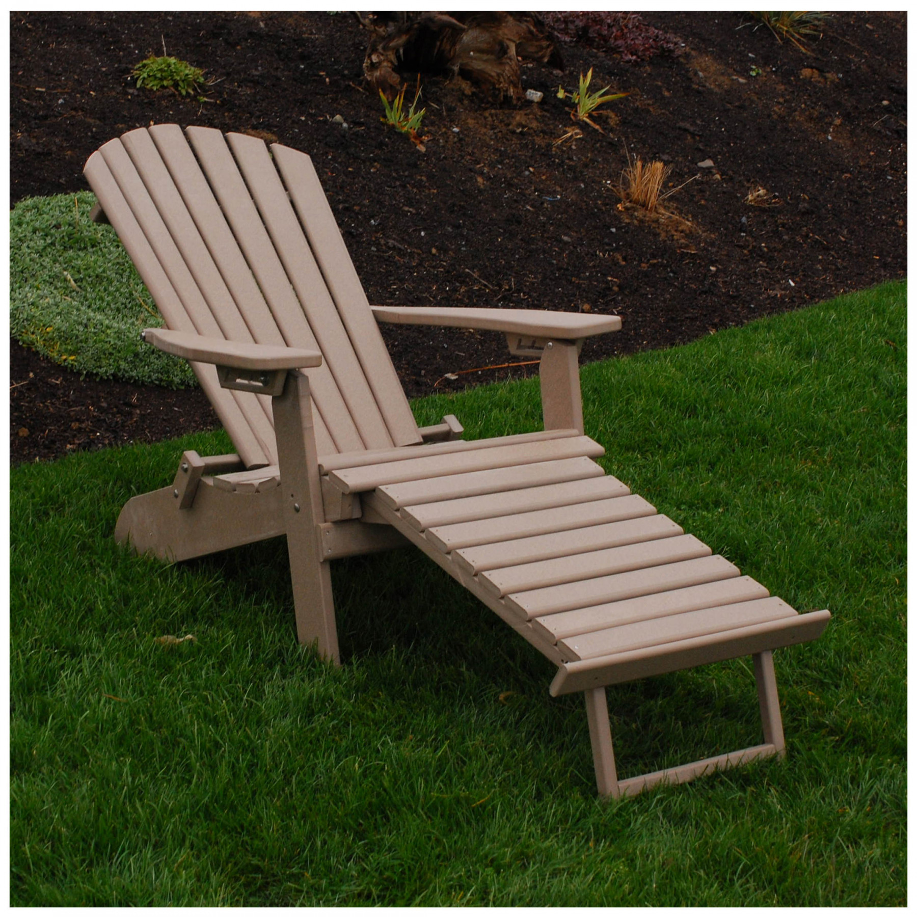 a l furniture poly folding reclining adirondack chair with pullout ottoman