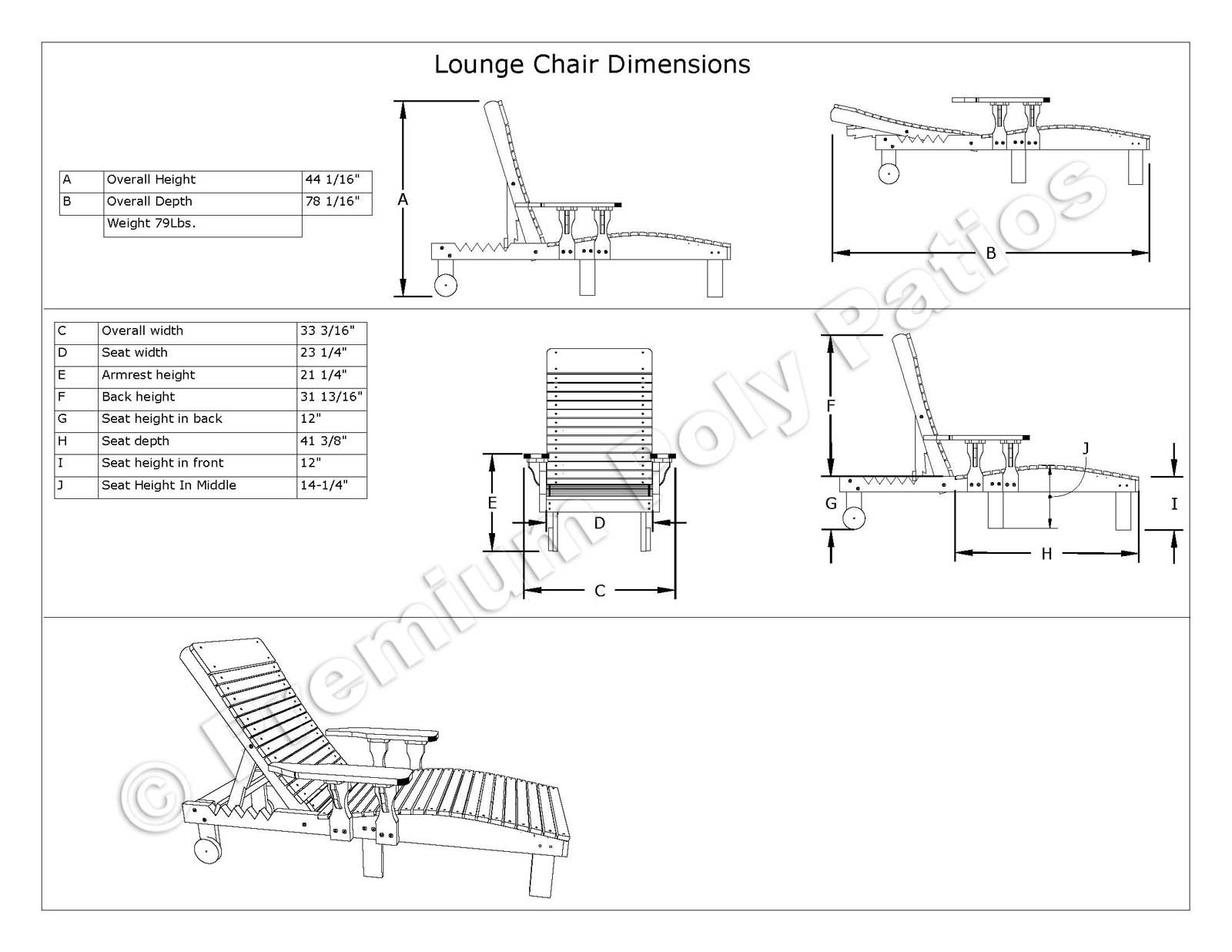 lounge chair dimensions adams stackable adirondack chairs luxcraft crestville