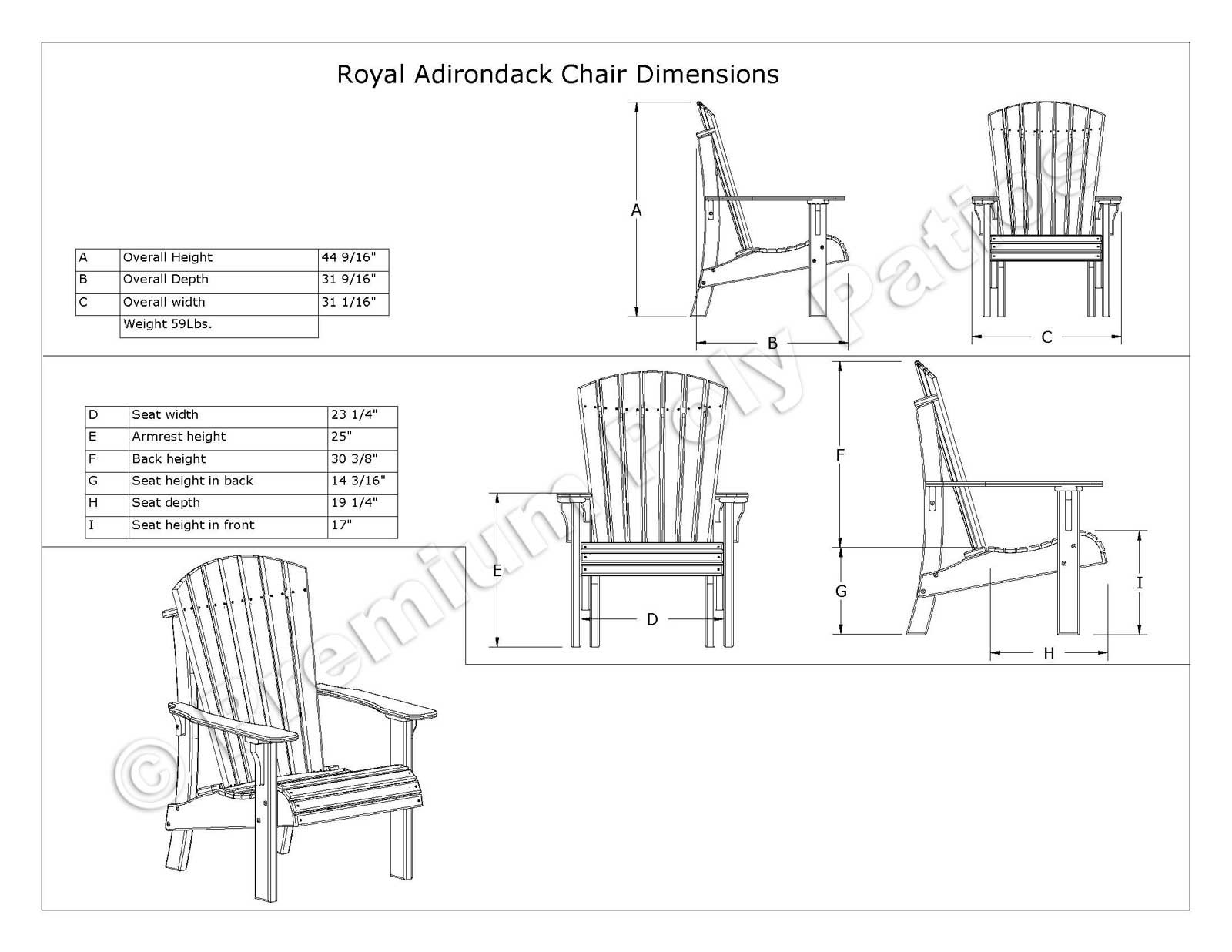 Senior Height Adirondack Chair