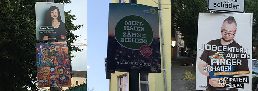Wahlplakate zur AGH Wahl 2016 in Berlin Prenzlauer Berg