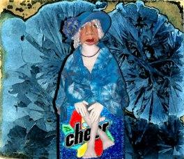 Aunt Acid on soapbox in front of crystal glaze tile
