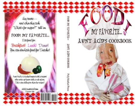 Aunt Acid's cookbook covers in InDesign