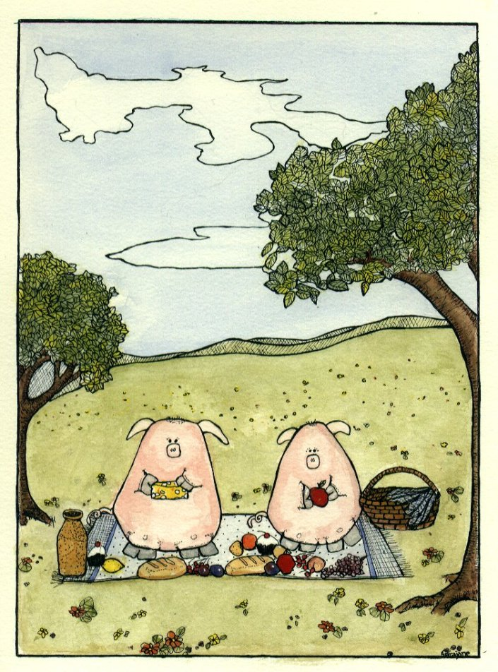 two pigs on a picnic