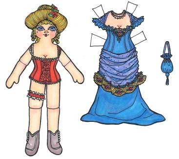 a dancehall girl paper doll