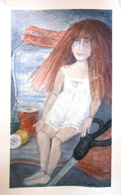 watercolor doll and fabric
