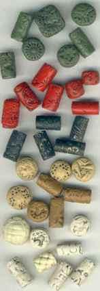 beads made of polymer clay that look like ivory, cinnabar, bakelite and jade