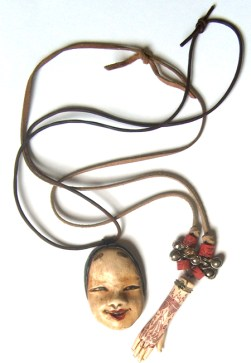 polymer clay Noh face and hand necklaces