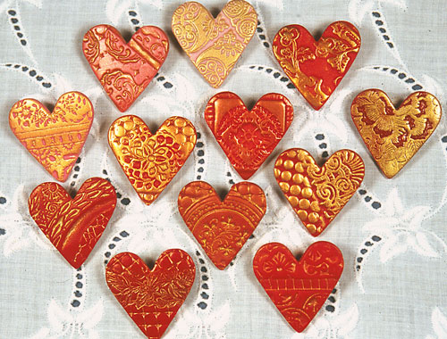 polymer clay heart pins