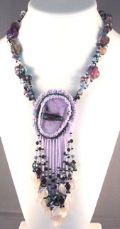 purple necklace with fused glass by Mad Margie