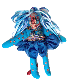 dyed spirit doll with beads and polymer clay face