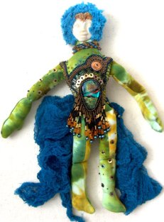 tiedyed fabric and beads spirit doll