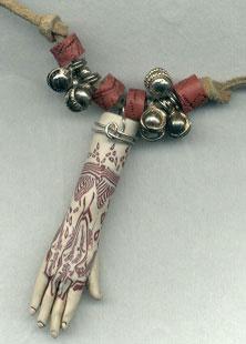 polymer clay mehndi hand bead