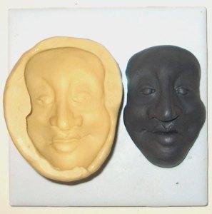 polymer clay original face and silicon mold