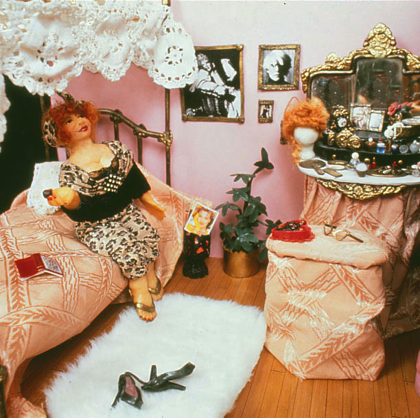 BonBon Bertie in Madame's boudoir--polymer clay doll and miniatures