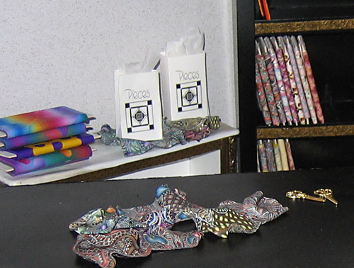 miniature polymer clay quilt store in progress