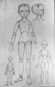 sketches for ball joint dolls in several scales