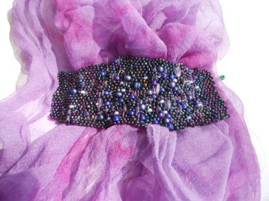 freeform peyote stitch beads with dyed silk gauze
