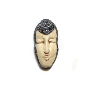 Sarajane Helm miniature polymer clay masks